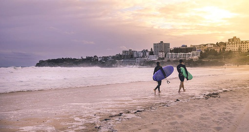 Surfers on Bondi Beach