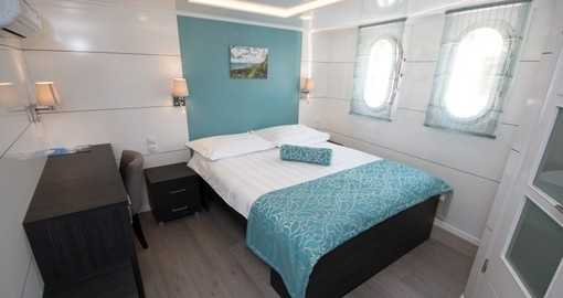 Cabin onboard Katarian Cruises Deluxe Admiral Ship. Katarina Cruises is the ultimate cruise option for Croatia, Europe.