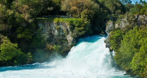 Visit Huka Falls during your New Zealand vacation.