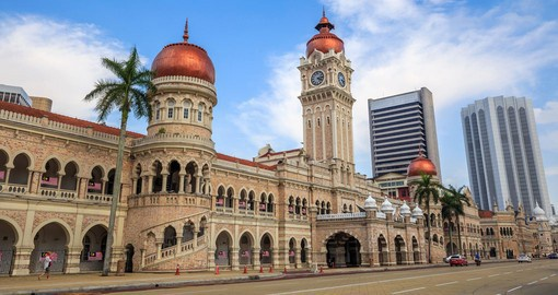 Visit the Sultan Abdul Samad Building and learn about its history dating back to 1897 and the significance it hold towers governmental powers on your Malaysia Vacation