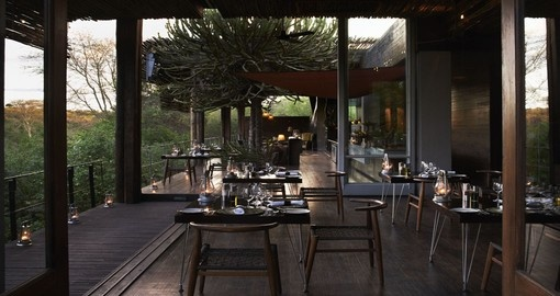 Dine at the Singita Sweni Lodge during your South Africa tour.