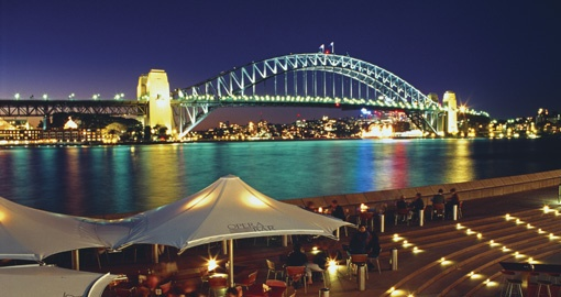 It is the spectacular Sydney Harbour by night.