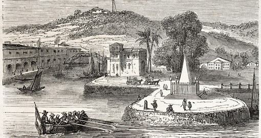 Old view of Singapore landing stage, 1857