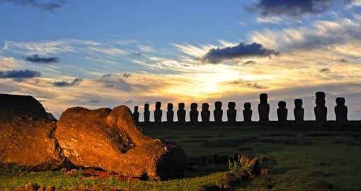 See beautiful sunsets over Easter Island on your trip to Chile