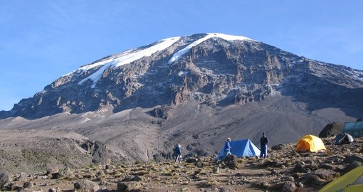 Experience the Kilimanjaro - tents with view of summit during your next Tanzania tours.
