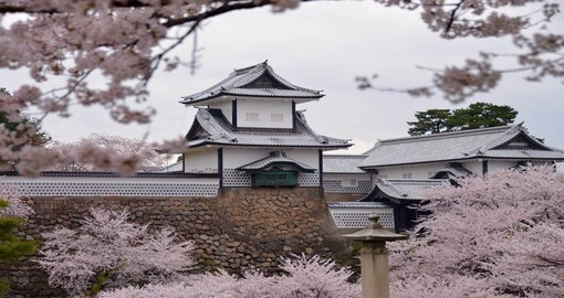 Marvel in the beauty that is both the traditional Japanese architecture and bright cherry blossom trees on your Japan Vacation