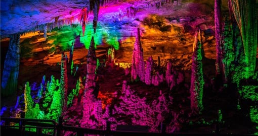 Yellow Dragon Cave, one of the largest caverns in China covers an ares of 48 hectares