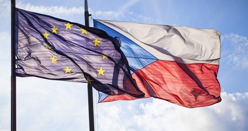 Flag of EU and Czech Republic