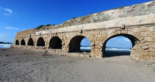 The Roman aqueduct in ancient Caesarea