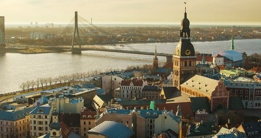 Daugava river with its beautiful bridges