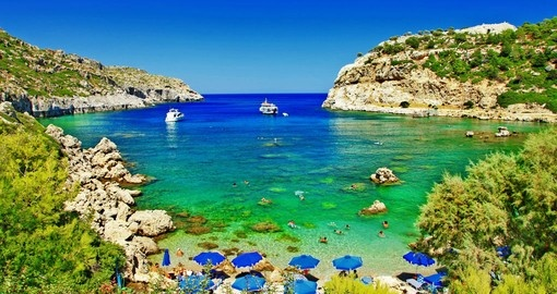 The turquoise waters of Rhodes
