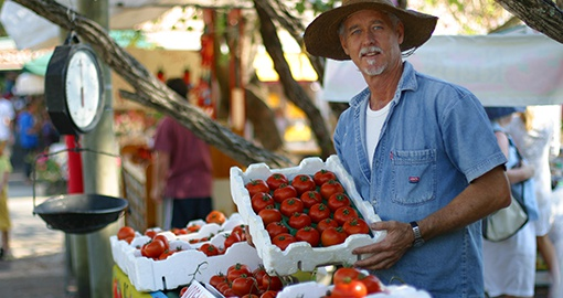 Meet local farmers at the Eumundi Markets on the Sunshine Coast