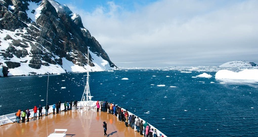 Take in the view from the ship's deck on your Antarctic Tour