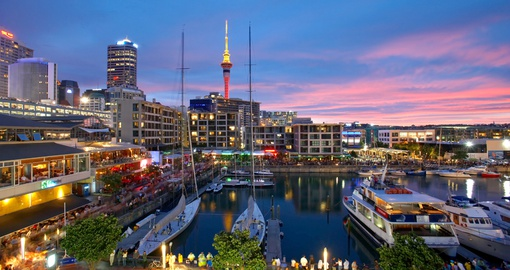 Sunset At Viaduct Harbour Auckland