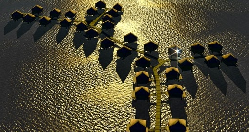 Overhead shot of a resort in Bora Bora at sunset