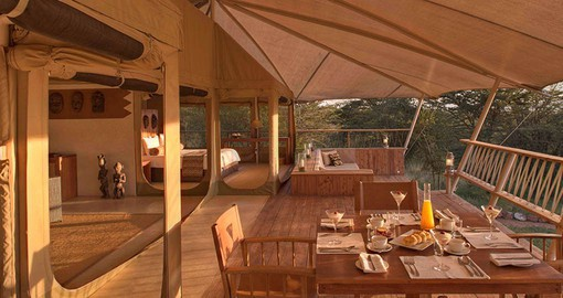 Every tent at Mara Bushtops is bounded by a private wooden deck of more than a hundred square metres