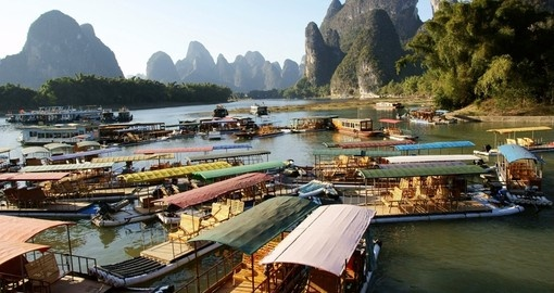 Roof-top boats in Guilin