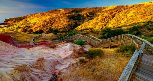 Hallett Cove boardwalk at sunset in South Australia - a great photo opportunity on all Australia vacations.