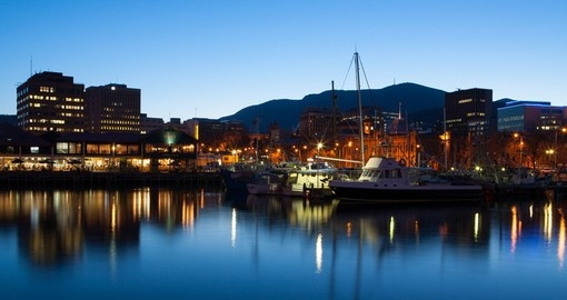 View towards Mt. Wellington over the wharf area in Hobart