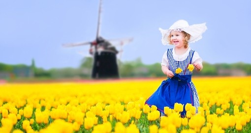 Playing in a tulip field