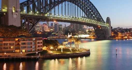 Sydney harbour bridge at sunrise and Park Hyatt