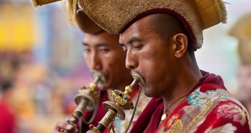 Buddhist lamas playing music