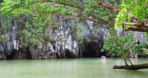 Kayak or canoe into the Puerto Princesa Caves located in Palawan on your Philippines Vacation