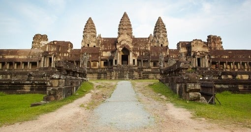 Entry in Angkor Wat in Cambodia against blue sky