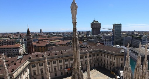 The gothic spires of Duomo terrace