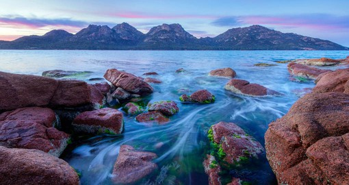 Freycinet National Park is home to dramatic pink granite peaks and secluded bays