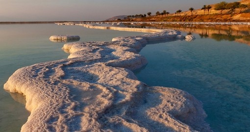 Morning sunshine on the coast of the Dead Sea