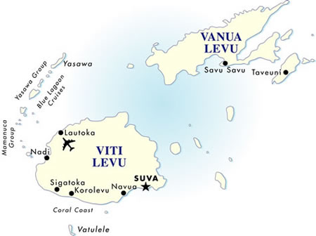Fiji cruise land with air south pacific vacation goway travel fiji destination map gumiabroncs Choice Image
