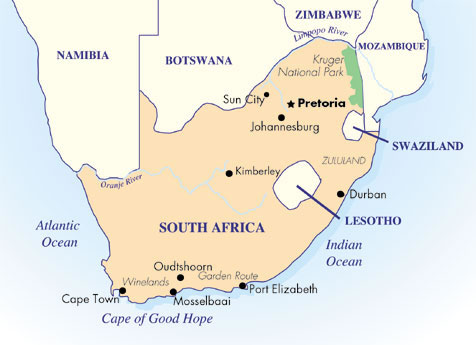City Lights And Safari Sights Goway Travel - Where is south africa map world
