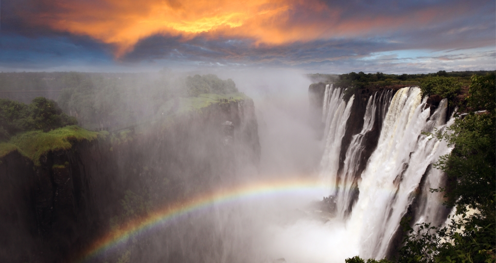 Victoria Falls at sunset
