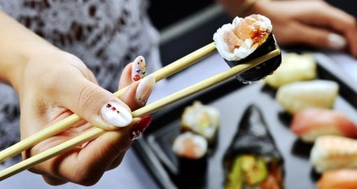 Enjoy sushi and other exotic Japanese food
