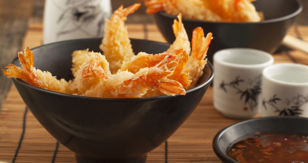 Shrimp tempura on a table.