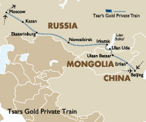 Tsar Private Train Route