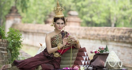 Thai women in traditional Thai style dress