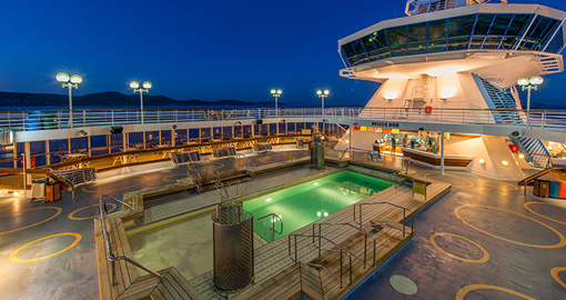 The Upper Deck of a Celestyal Cruise Ship