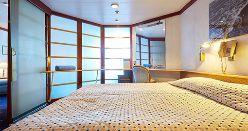 Balcony Suites on the MS Celestyal Crystal.