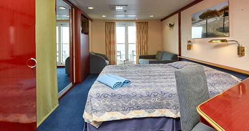 Junior Balcony Suites on the MS Celestyal Crystal.