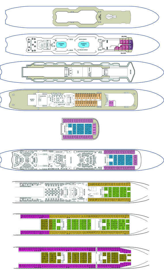 The MS Celestyal Olympia Deck Plan.