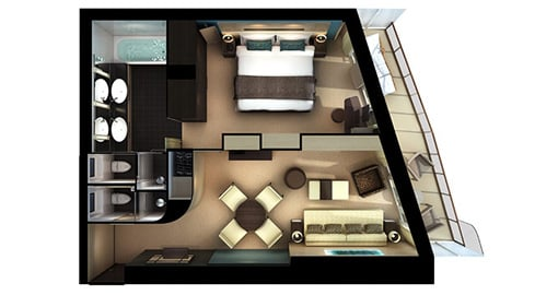 The Getaway Haven Aft-Facing Penthouse with Master Bedroom and Balcony.