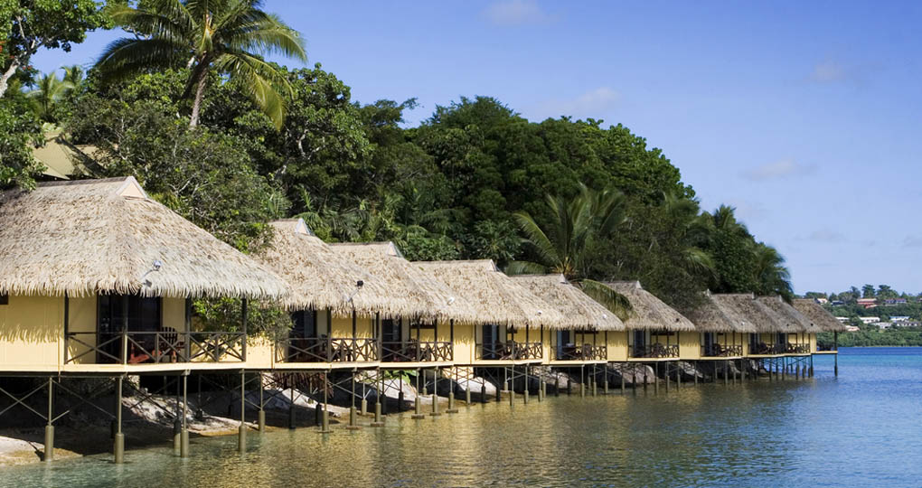 Tongan huts on beach