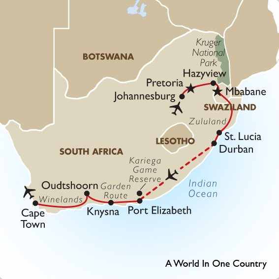 South Africa Safari Package World In One Country Goway - Where is south africa map world