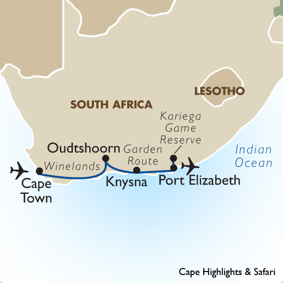 Cape highlights safari south african vacation tours - Cape town to port elizabeth itinerary ...