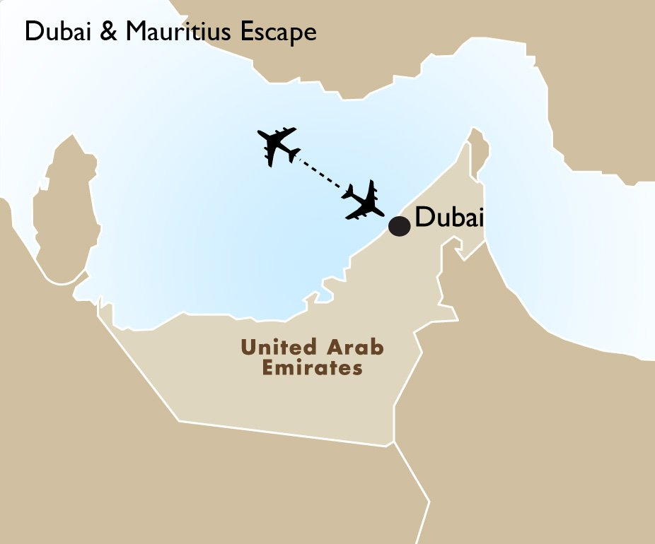 Dubai mauritius escape dubai vacation packages trips goway itinerary view trip map gumiabroncs Images