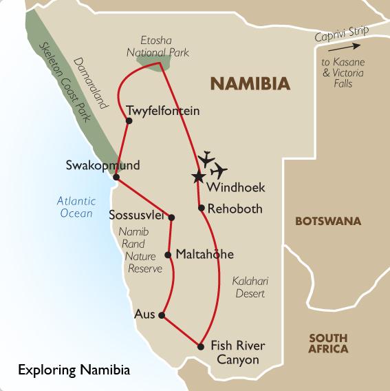 Namibia Tour Package Exploring Namibia Goway - Kalahari desert map