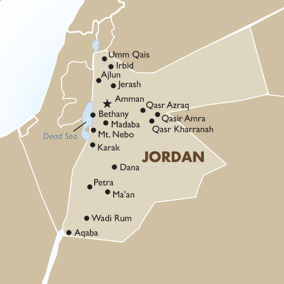 Jordan vacation tours travel packages 201819 goway travel jordan country map gumiabroncs Image collections
