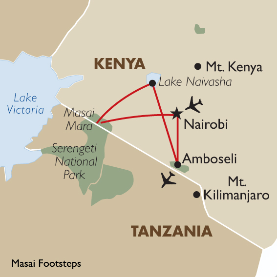 Kenya safari packages masai footsteps goway itinerary view trip map gumiabroncs Images
